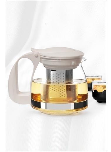 Kitchen Love 700Ml-Çelik Süzgeçli Cam Demlik Bej